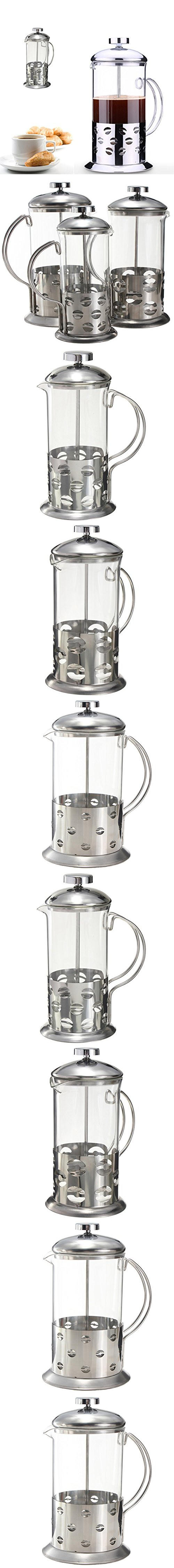 """""""800ml Stainless Steel Glass Teapot Cafetiere French Coffee Tea Filter Press Plunger"""" shopping"""