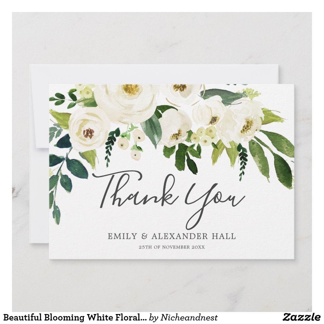 beautiful blooming white floral elegant wedding thank you