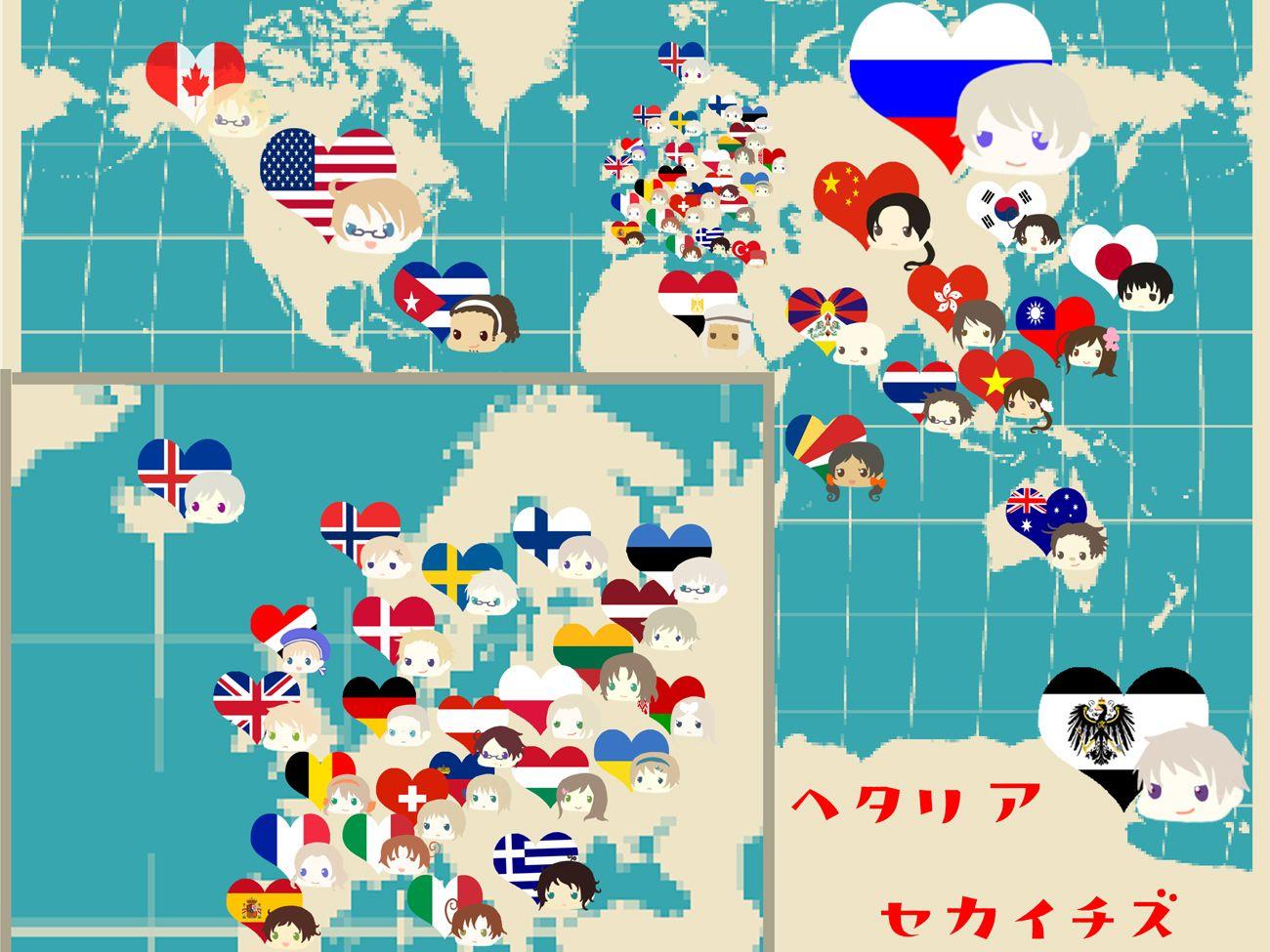 The Hetalia World Map (ヘタリア世界地図) XD