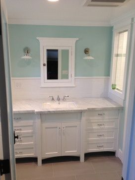 Craftsman Bathroom With White Subway Tile Vintage