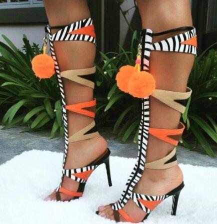 6a4f3d98179 2019 的 Famous Design Pompom Fur Balls Stiletto High Heels Dress ...