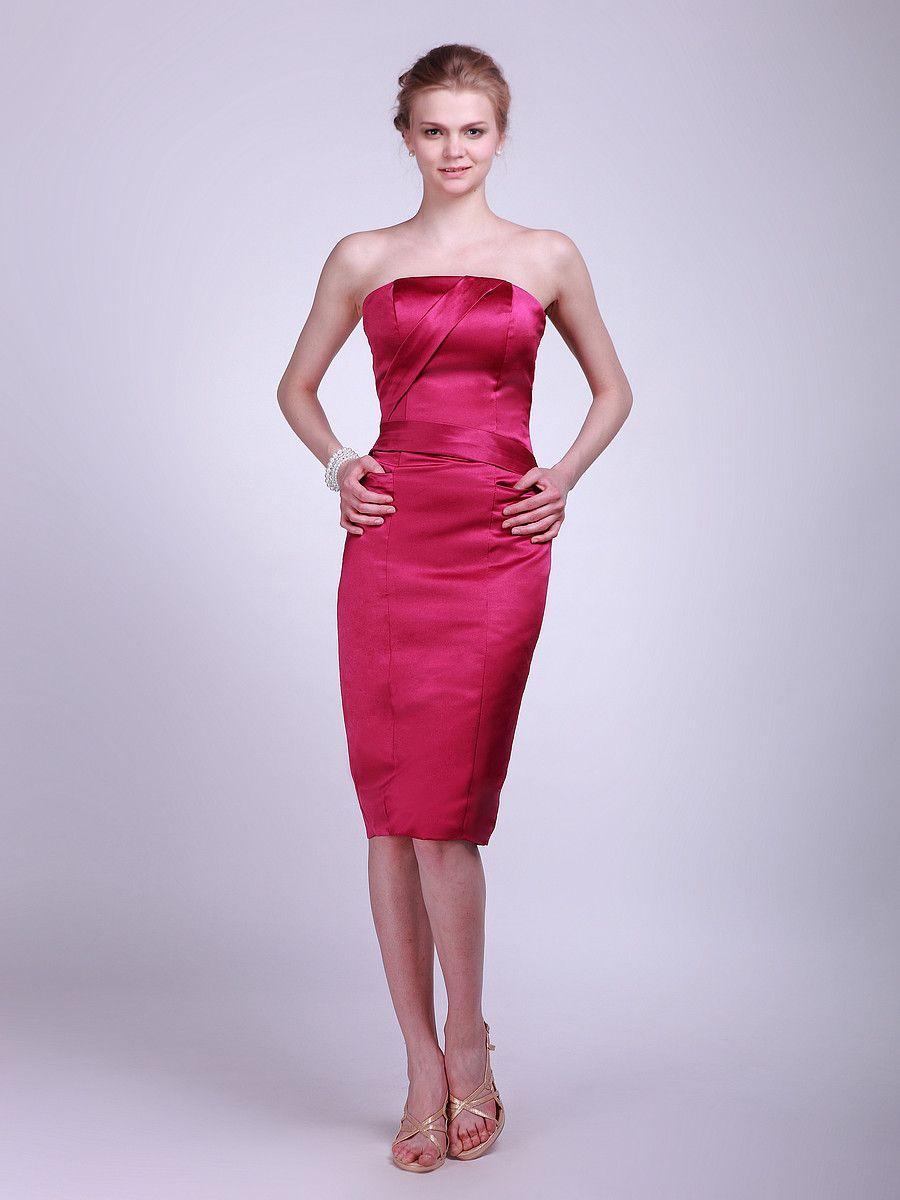 Strapless Satin Bridesmaid Dress Sheath/Column, Knee Length ...