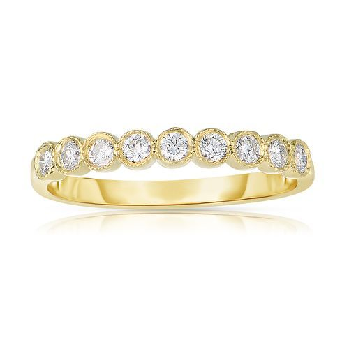 Fink's 14K Yellow Gold 9 Round Diamond Ring