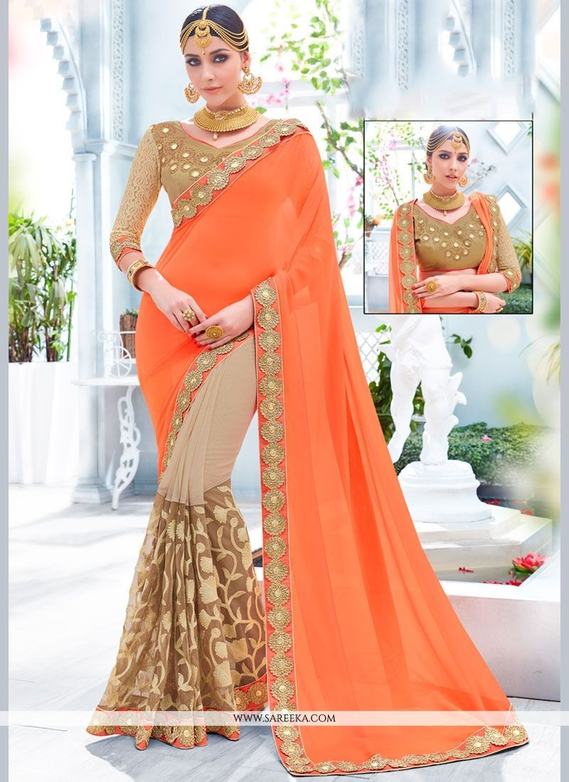Patch border work designer half n half saree half saree saree and