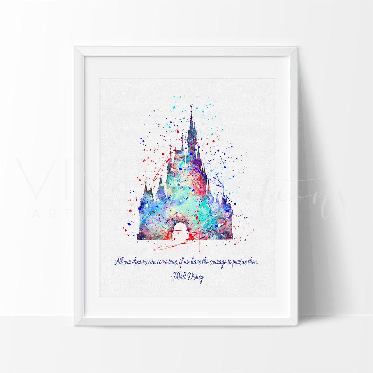 cinderella princess castle walt disney quote watercolor art print cinderella princess castle walt disney quote watercolor art print