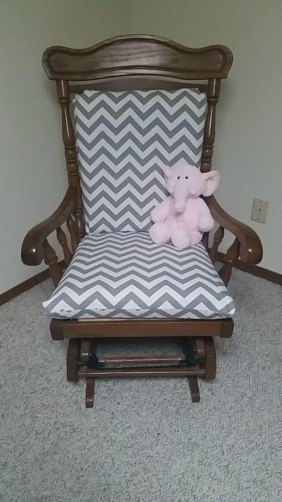 Old glider cushion reupholstered https://www.facebook.com/molliepopsboutique/