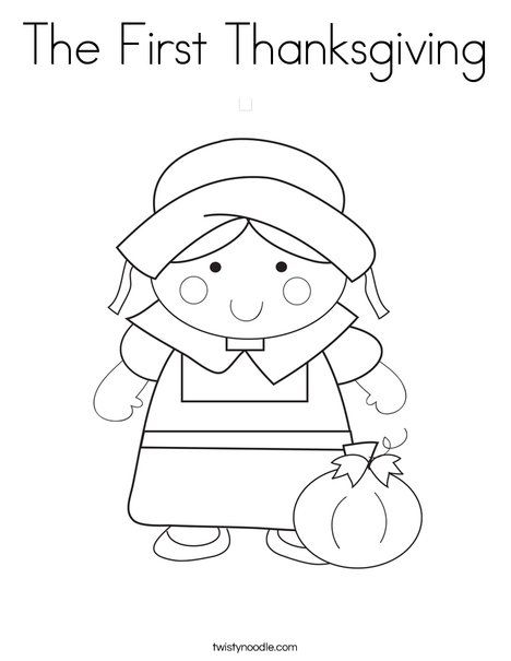 The First Thanksgiving Coloring Page Twisty Noodle