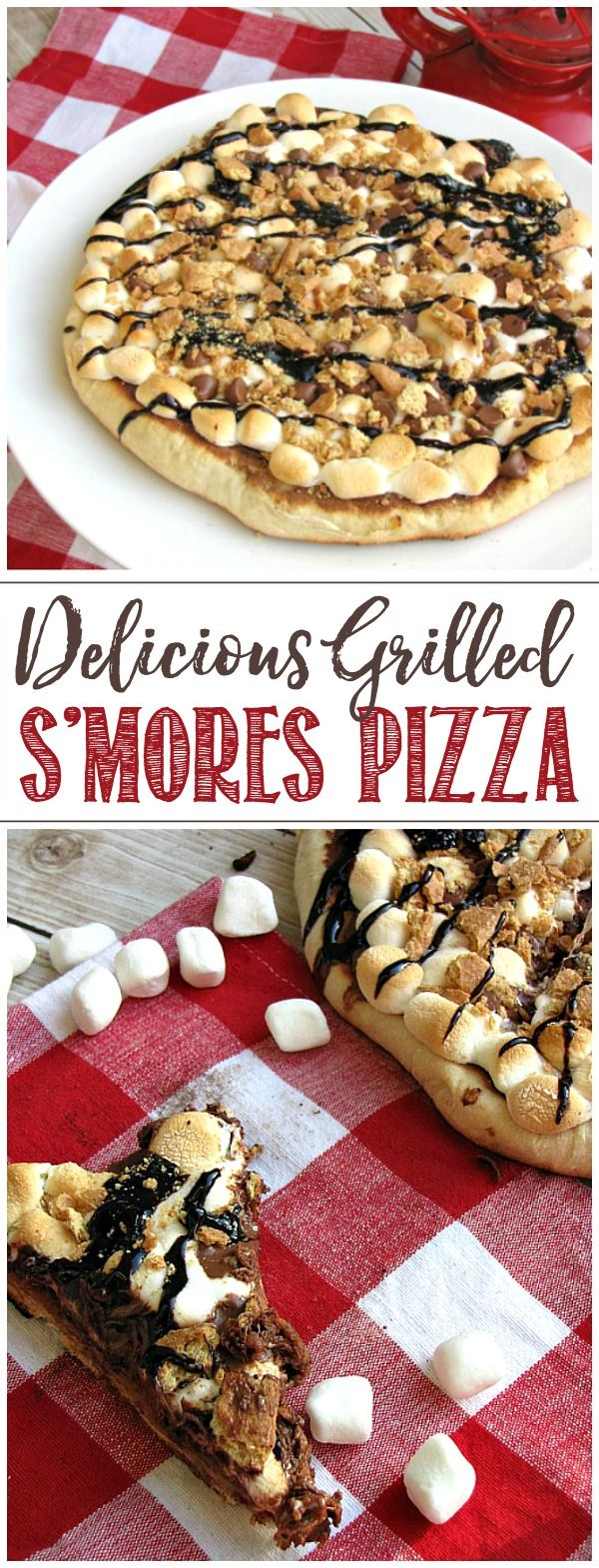 S'mores Pizza This delicious grilled s'mores pizza gives you all of that s'mores taste right in your backyard. It will definitely become a summer favorite!