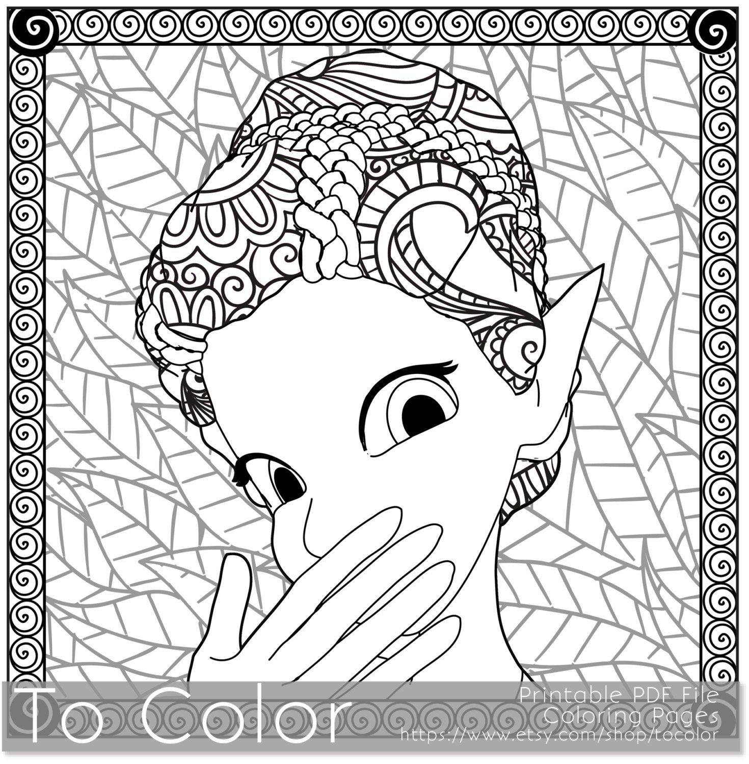 Retro Girl Pixie Fairy Printable Coloring Pages For Adults Fantasy PDF JPG