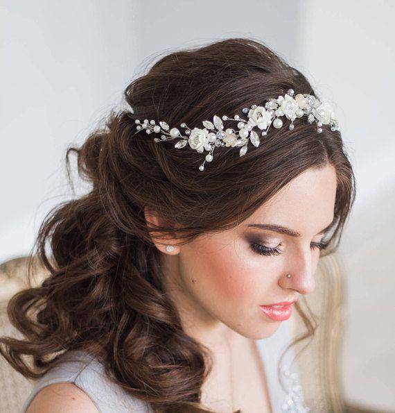 Bridal hair vine floral bridal tiara wedding diadem pearl hair d00b89572cec