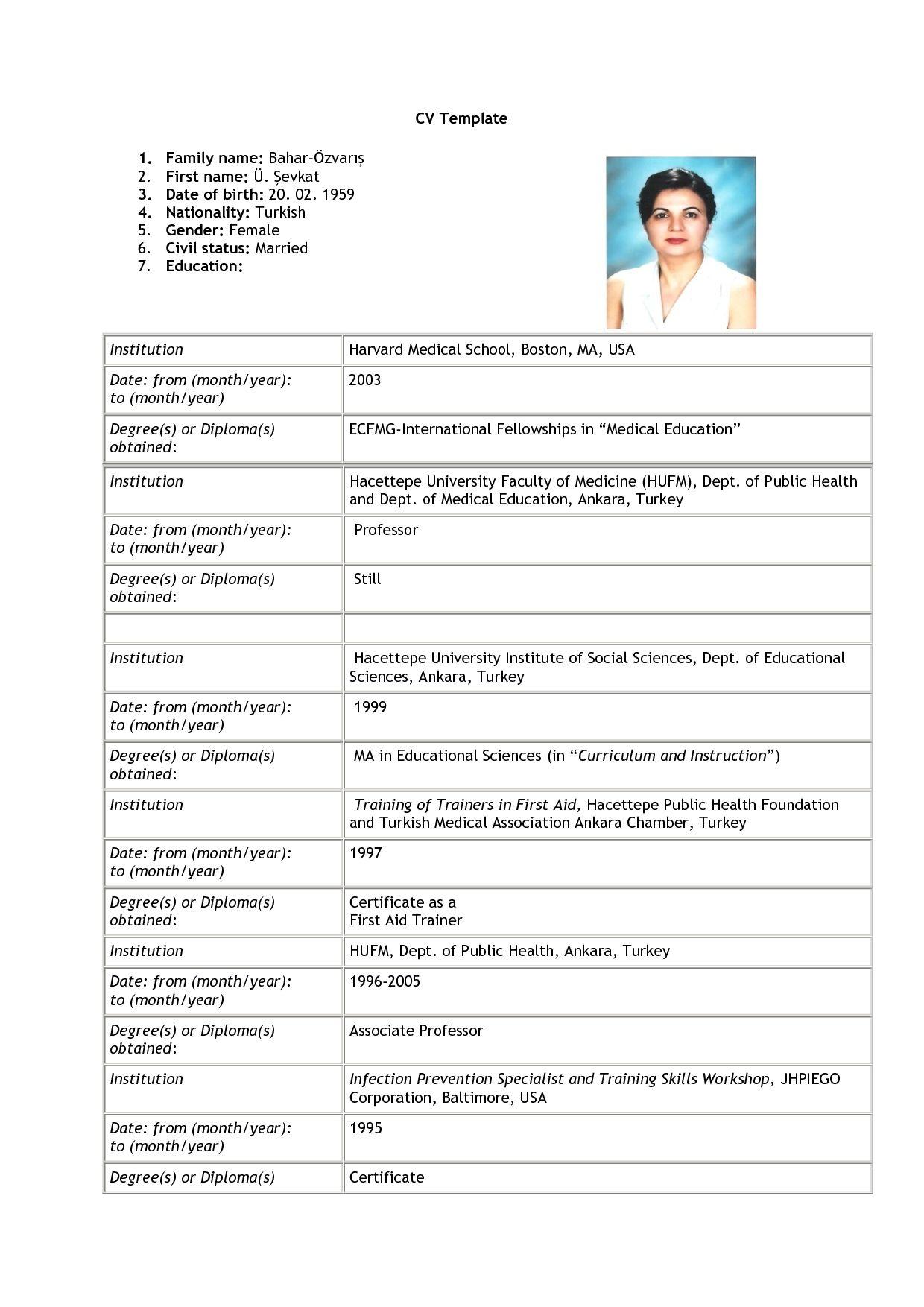 Cv Resume Format For Job