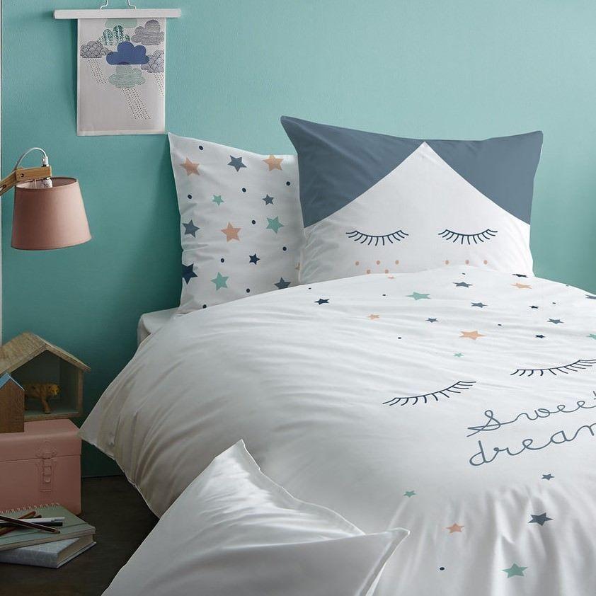 Sterne Sweet Dreams Mädchen Bettwäsche Wimpern 2 Tlg 80x80