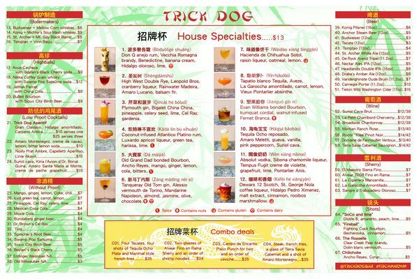 Trick Dog Launches Hokey Hilarious New Chinese Restaurant Menu