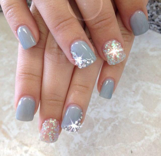 grey gel nails with rhinestones