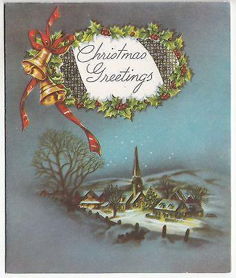 Vintage Village Winter Bells Holly Christmas Greeting Card