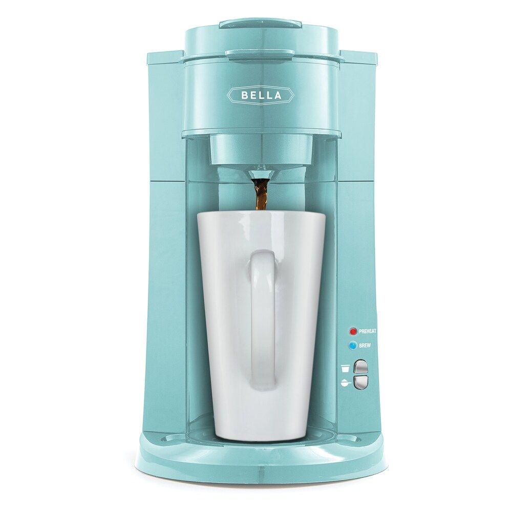 Bella dual brew singleserve coffee maker turquoiseblue