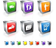 Return and Exchange 3D vector icon set with Metal Rim vector art illustration