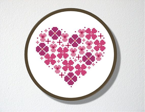 Counted Cross stitch Pattern PDF. Instant download. Flowers Heart. Includes easy beginner instructions.. $4.50, via Etsy.