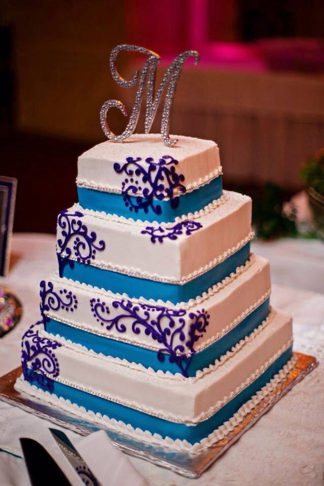 Wedding Cake Teal And Purple Crystal Cake Topper Purple