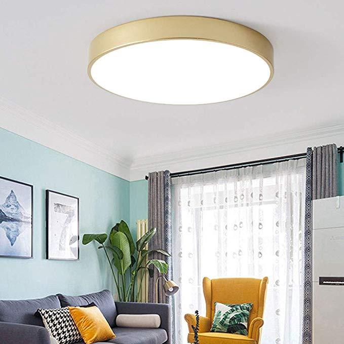 Amazon Com Aokarlia Led Round Ceiling Lights Modern Golden Super Bright Flush Square Bathroom Li Ceiling Lamps Living Room Ceiling Lights Cheap Ceiling Lights