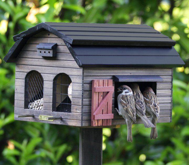Birdhouse with barn door and a mini birdhouse