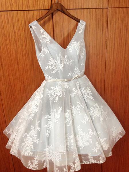 2017 A-line Short Prom Drsess V-neck Homecoming Dresses SKY529 ...