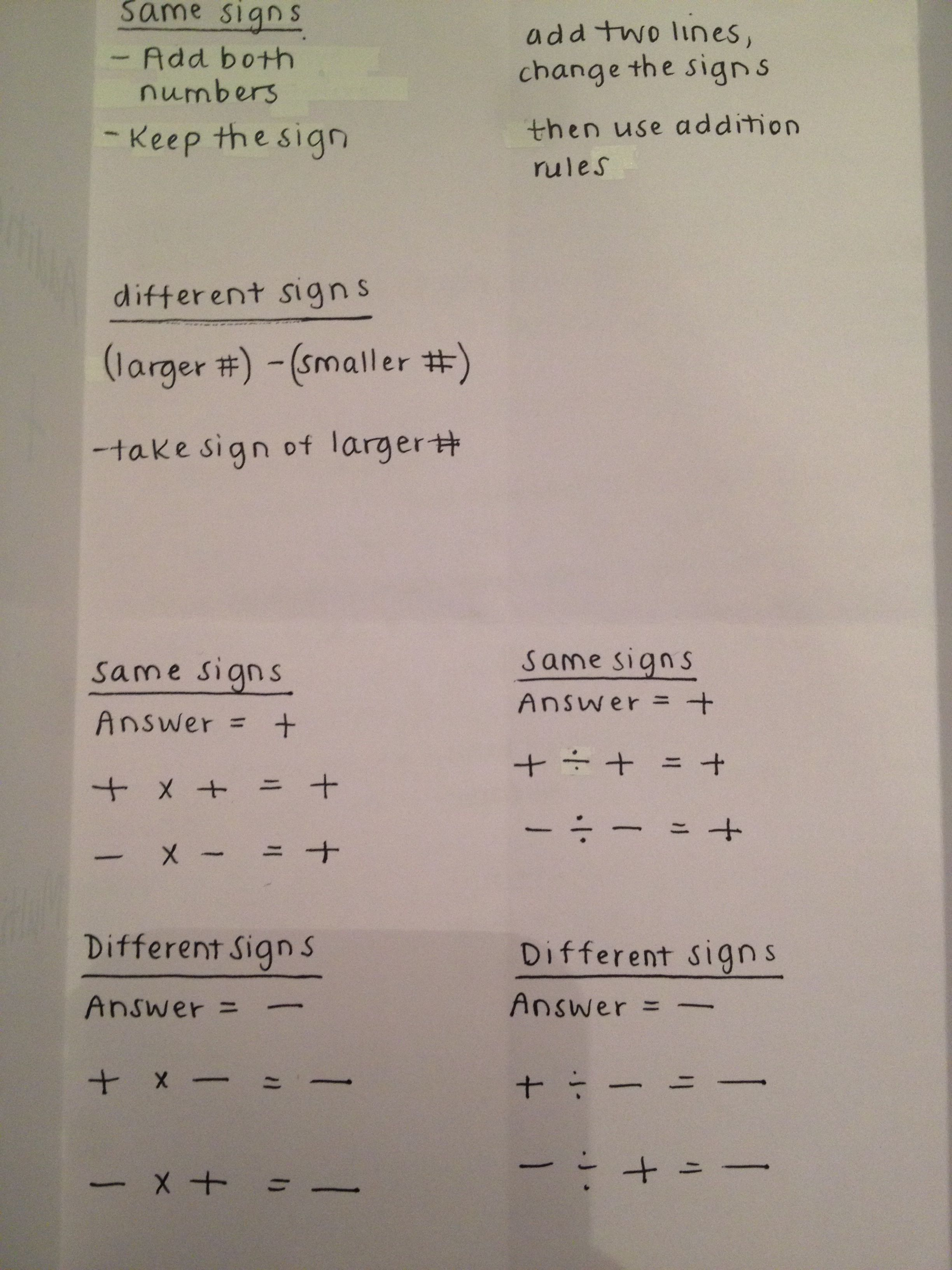 Integers Foldable That I Made Four Sections Addition