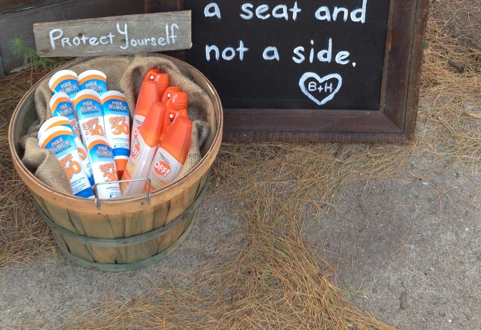 simple outdoor wedding ideas for summer%0A DIY wedding  bugspray and sunscreen basket for guests  wedding idea   rustic wedding