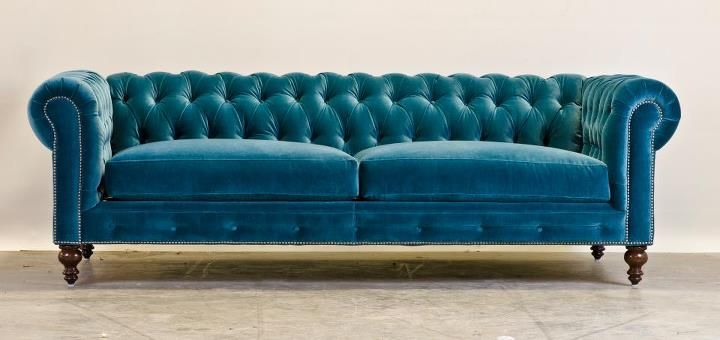 Teal Chesterfield By The Comfortable Couch Company Velvet