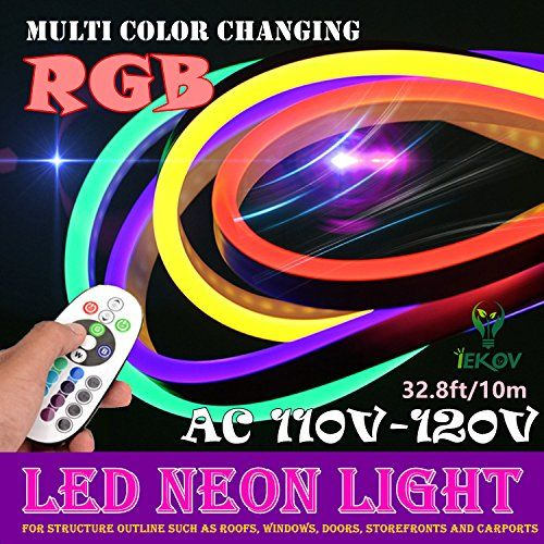 Led Neon Light Iekov Ac 110120v Flexible Rgb Led Neon Light Strip 60 Ledsm Waterproof Multi Color Changi Led Neon Lighting Led Rope Lights Rgb Led Strip Lights