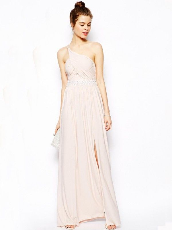 7b369727ccb88 Charming One Shoulder A-line Floor-length Ruffles Chiffon Bridesmaid Dresses  With Beaded Belt
