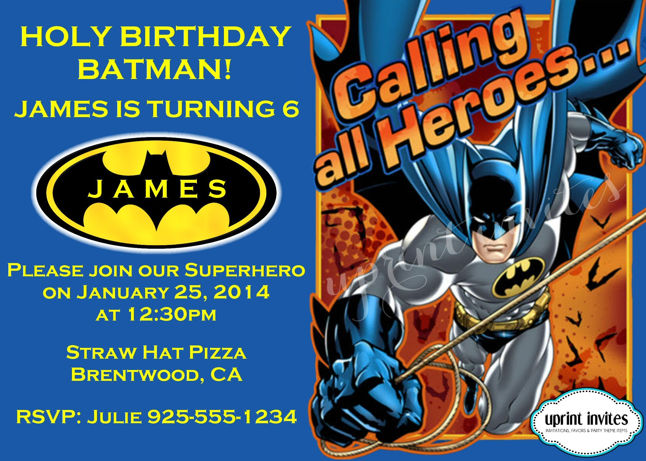 Personalized Invitation Www Facebook Com Uprintinvitations Batman