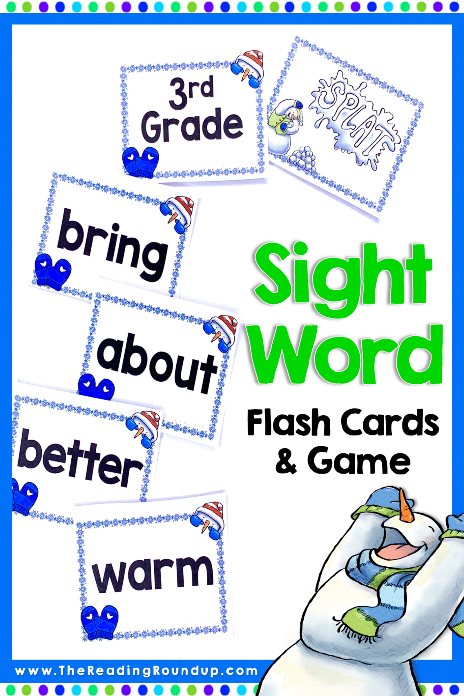 Winter Snowmen Sight Word Game and Flash Cards January