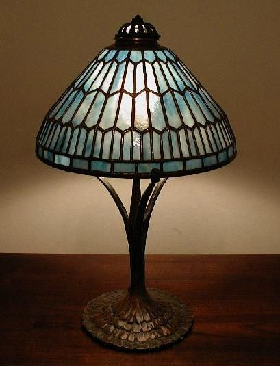 "Original Lamps small geometric"" (10"") in aqua art glass. a coughran studio"