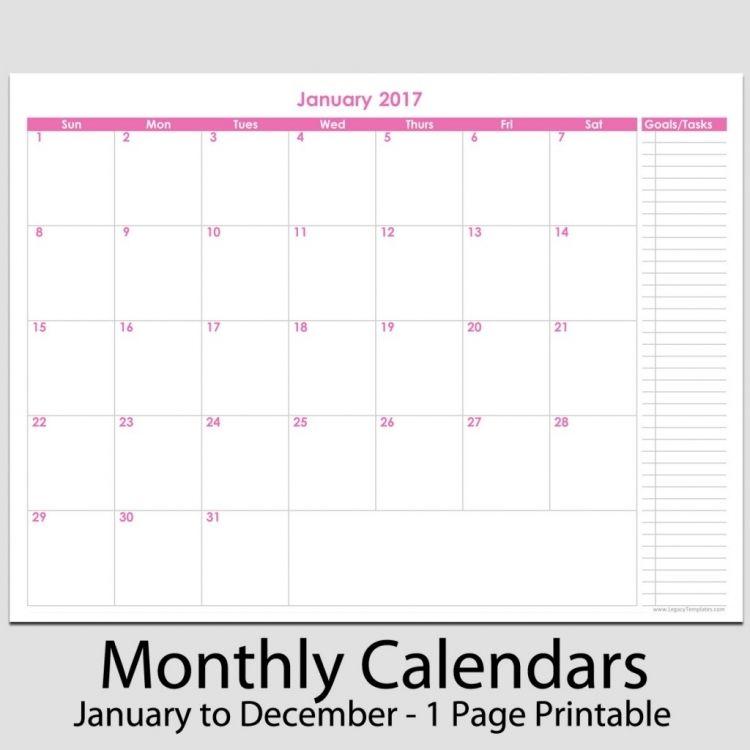 Printable Monthly Task Calendar Calendar Printable Template News