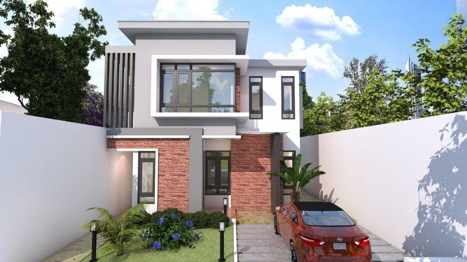 4 Bedroom Modern Home Plan Size 8x12m Samphoas Plansearch Modern House Plans Bedroom House Plans House Plans