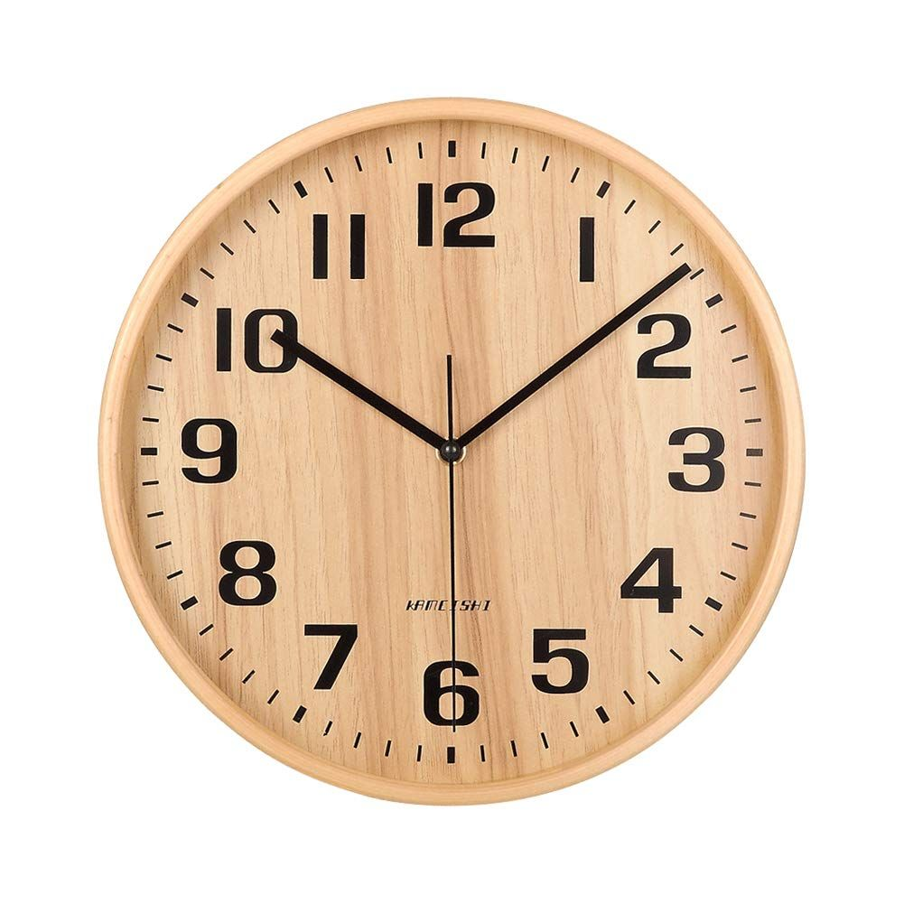 Kameishi Wall Clock 11 Inch Silent Wood Wall Clocks Battery Operated Non Ticking Quartz Easy To Read Large Numbers Wood Wall Clock Wall Clock Clock