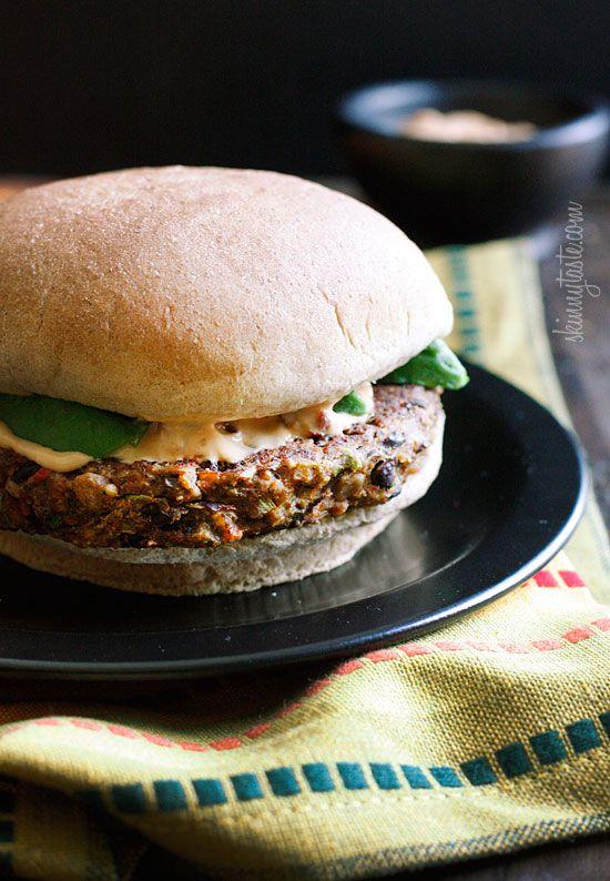Spicy Black Bean Burgers with Chipotle Mayonnaise | Skinnytaste #vegetarian