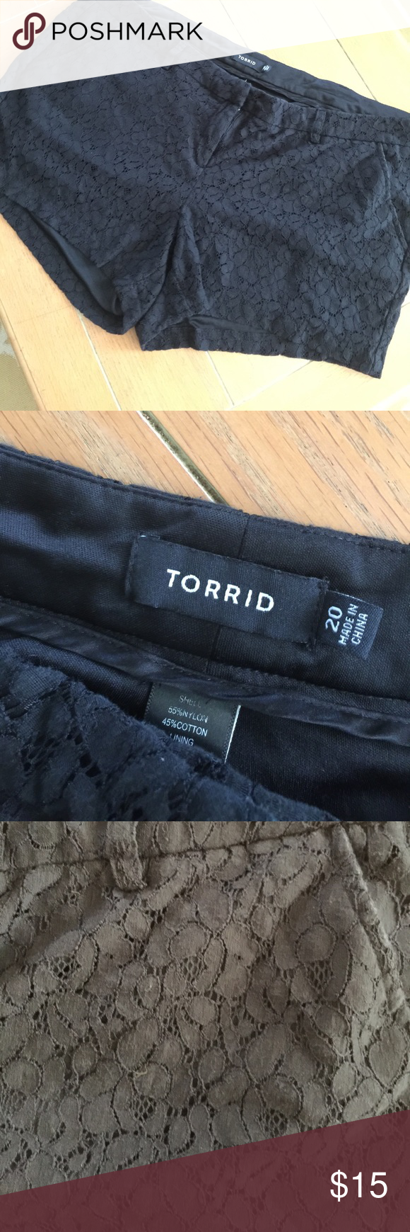Torrid black lace shorts lined Super cute excellent condition lace black torrid shorts. Size 20. You will love them torrid Shorts