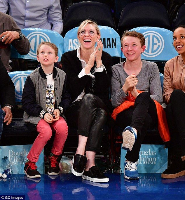 Cate Blanchett Cuddles Up To Her Sons At Basketball Game In Nyc
