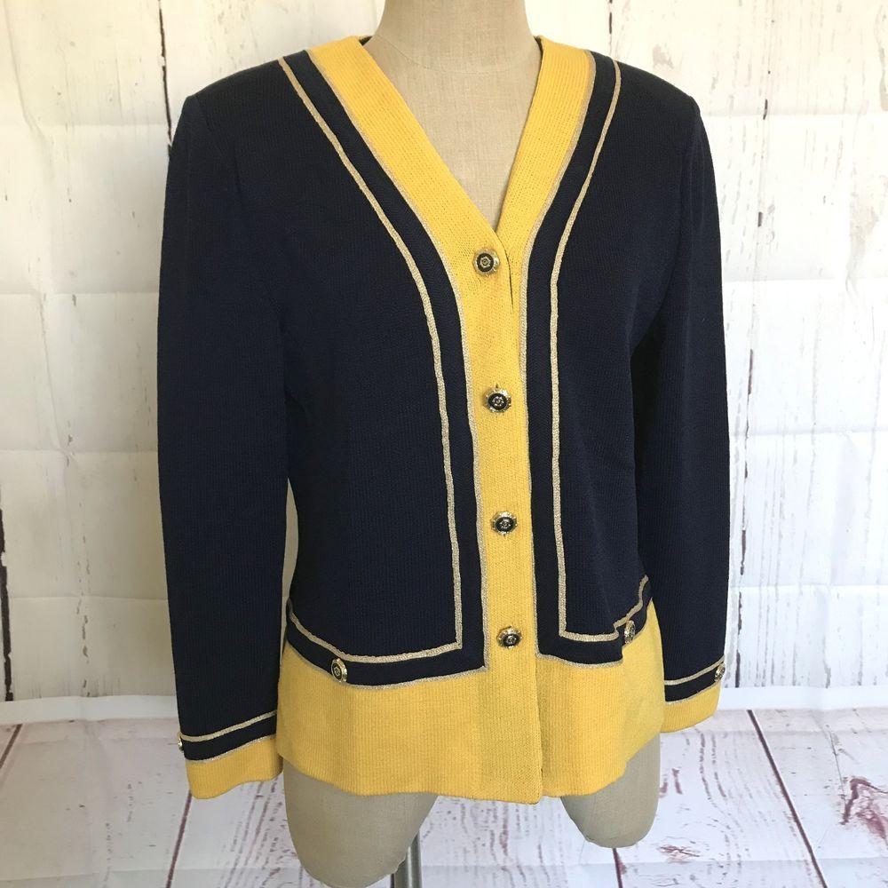 e7a9067bd3961 St. John Collection Womens Jacket Size 8 Blue Yellow Logo Enamel Buttons   StJohn  Blazer  Business