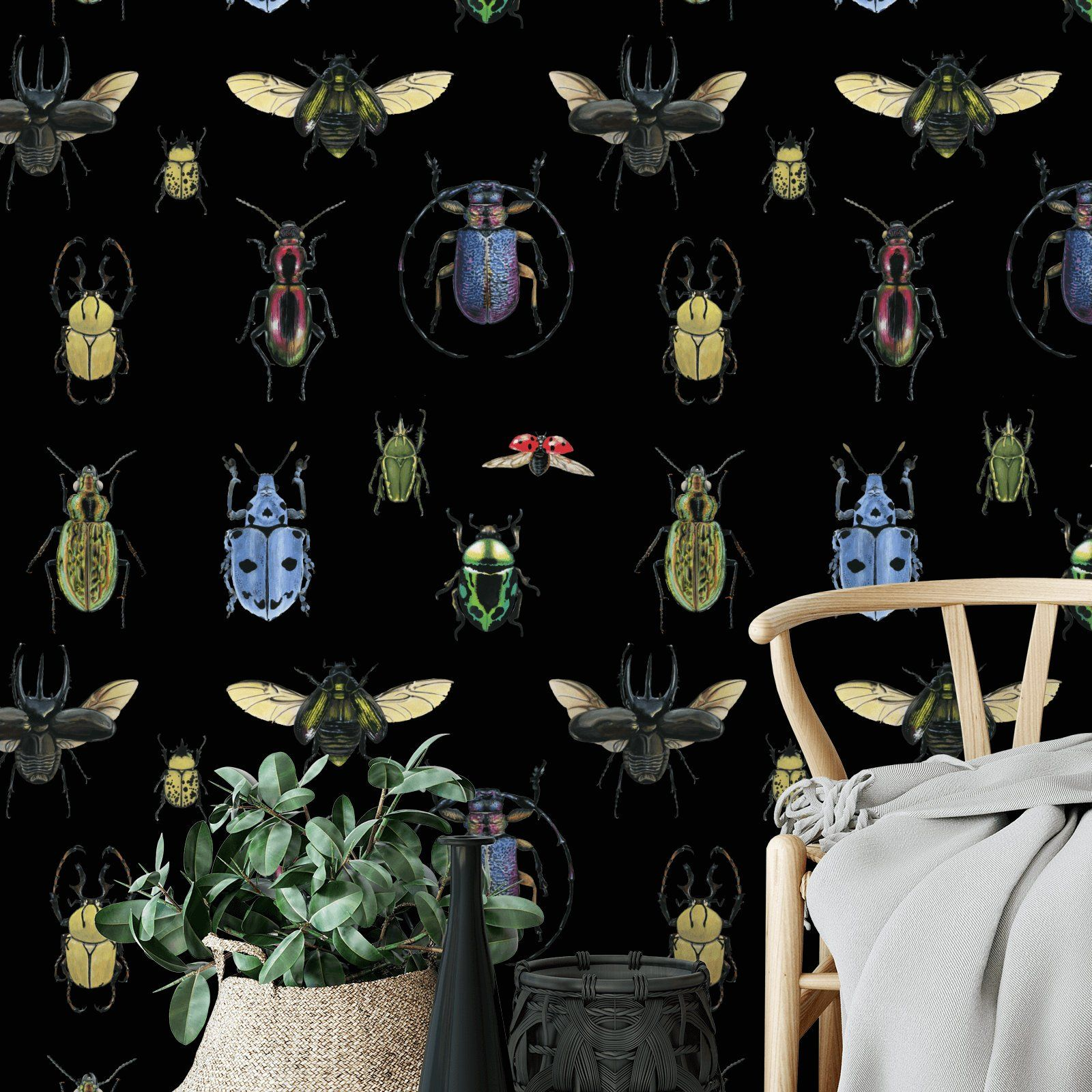 Insect Removable Wallpaper On Black 636 Etsy Removable Wallpaper Temporary Wallpaper Nature Wallpaper