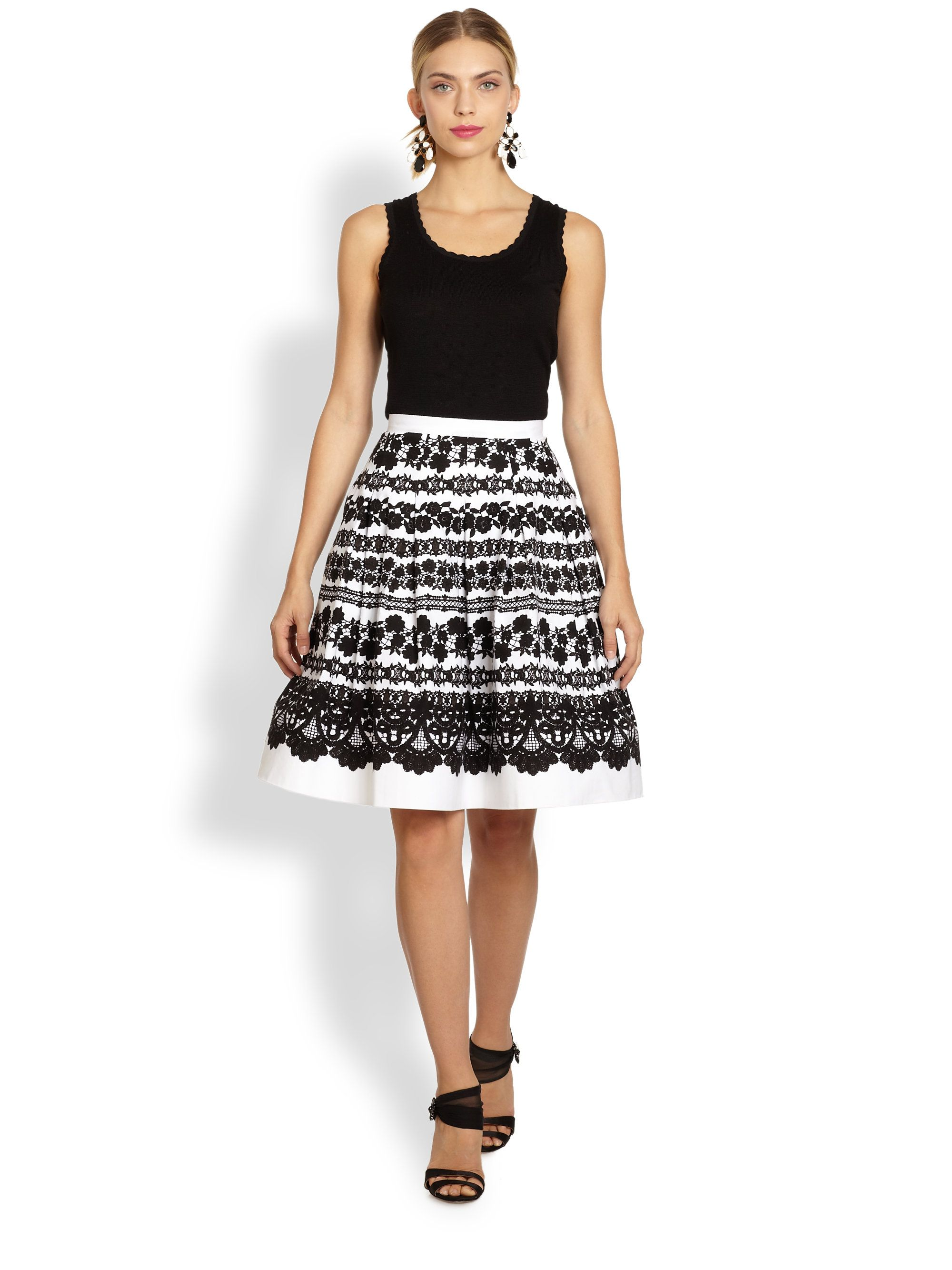 Oscar De La Renta Lace Print Skirt in White (WHITE BLACK) | Lyst