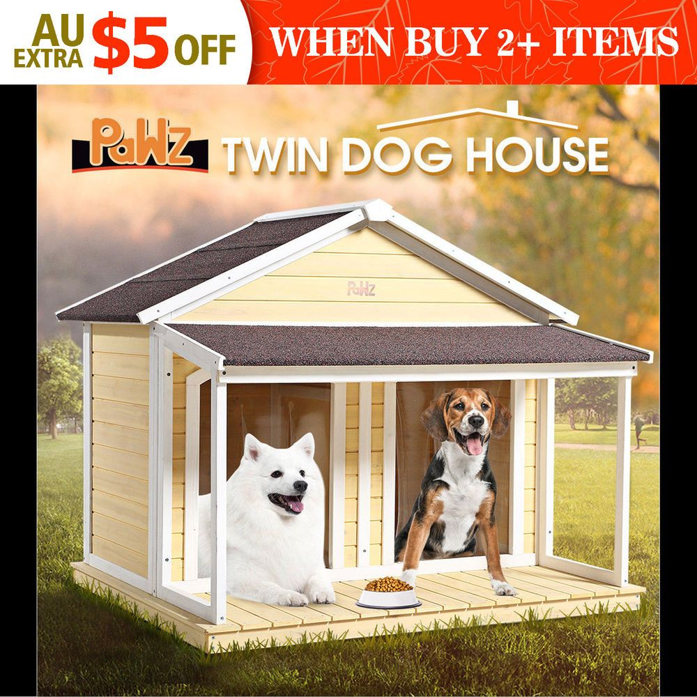 Details About Pawz Dog Kennel Outdoor Wooden Pet House Puppy Timber Home Box Extra Large 2door Dog Kennel Outdoor Dog House Dog Kennel