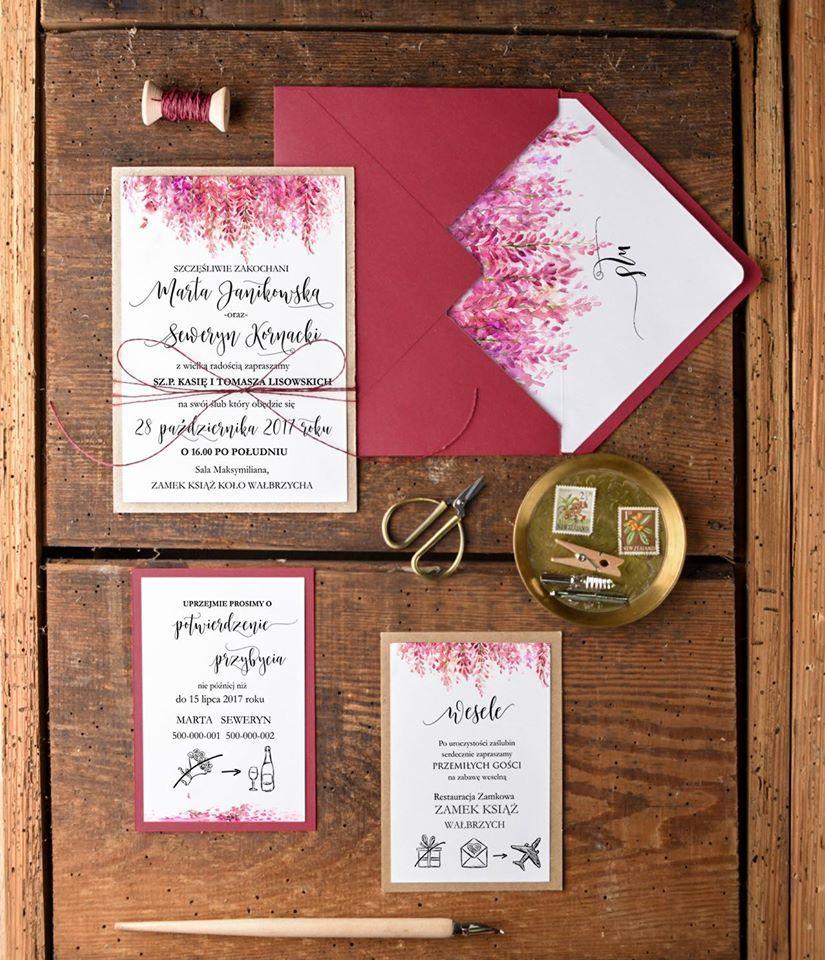Zaproszenia ślubne Otwarte Jednokartkowe 46ccz Kwiaty Na Wesele