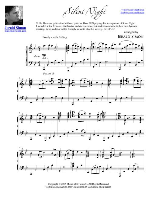 Free Pdf Download Of Silent Night Arranged By Jerald Simon Music