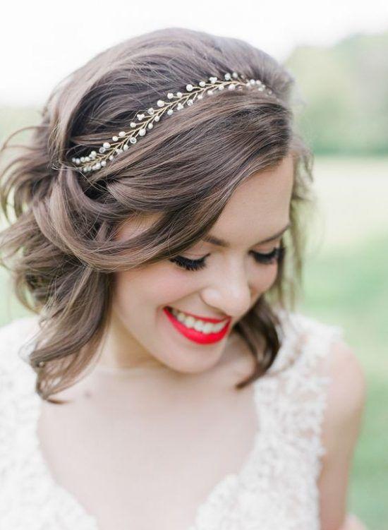 Klasyczny Bob Fryzury ślubne Dla Krótkich Włosów ślub
