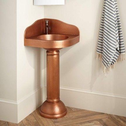 Hammered Copper Corner Pedestal Sink Pedestal Sink Corner Pedestal Sink Pedestal Sink Bathroom