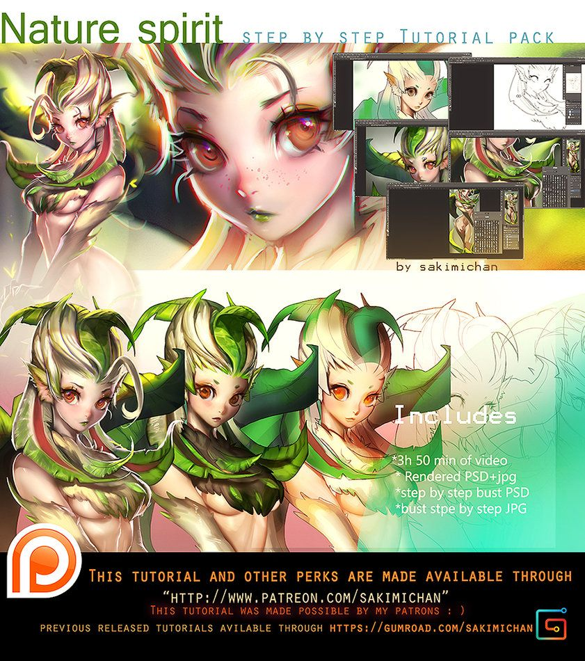 Nature Spirit video tutorial pack .promo. by sakimichan