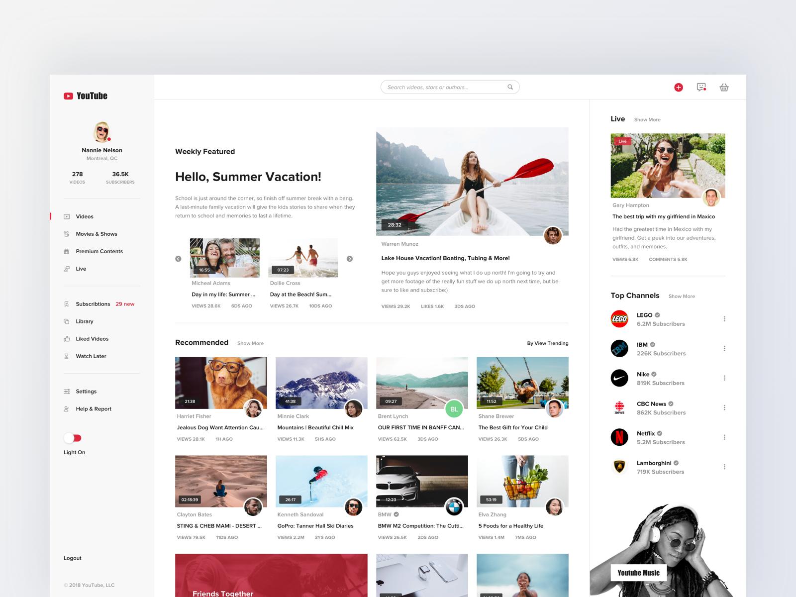 Youtube Concept Design Videos News Web Design Youtube Design Website Design Layout